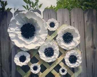 Weddings Handmade Large Paper Poppies 3 to 14 Inches Color of your Choice