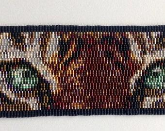 Tiger Eyes (Green) Peyote Stitch Cuff