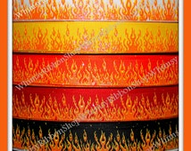 New 1, 2, 3, 4 or 5 yards 7/8 GLITTER FIRE FLAMES on Black White Red purple Grosgrain Ribbon bows collars motorcycle bike orange yellow pink