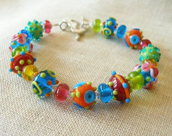 Rainbow Lampwork Bracelet, Heart Toggle Clasp, Rainbow Colors