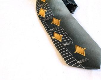 Vintage 1960s Rooster Silk Necktie - sage yellow white