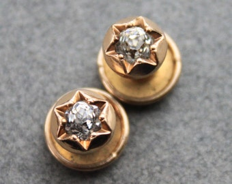 Antique Rose Gold Paste Collar Stud Buttons / Victorian Earrings