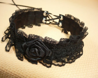 Gothic Victorian Choker Pleated Lace, Halloween Necklace, Ruffled Textile Jewelry, Baroque Neck Piece, Halloween Costume Collar Halsband