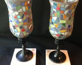 Scrap glass mosaic candle holders on marble bases
