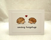Hedgehog Valentine Card, Valentine Card with Hedgehogs, Sending Hedgehugs Valentine Card, Valentine Hedgehog Card, Valentine Hedgehogs