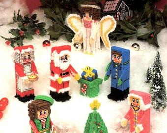 Plastic Canvas Christmas Wonderland 3D Santa Mrs Claus Elf Angel Tree Presents Girl Boy Needlepoint Embroidery Craft Pattern Leaflet 148