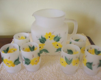 Vintage Gay Fad Studio Hand Painted Pitcher Plus 6 Matching Glasses for Fire King