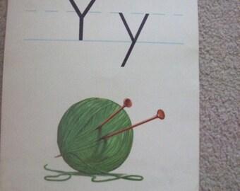 """Vintage Alphabet Flashcard by Milton Bradley 14"""" by 11"""" Letter Y for Yarn"""