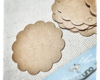 STOCK - 50 die cut labels gift tags, havana brown, circular lace