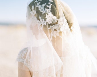 Wedding Veil, Short Beaded Applique Floral Bridal Veil Elbow Length, Blusher Veil - Style 406