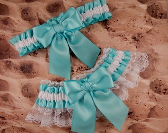 Aqua Ribbon White Lace Bridal Wedding Garter Toss Set