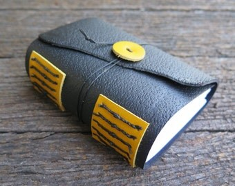 A7 Black and Yellow Leather Journal