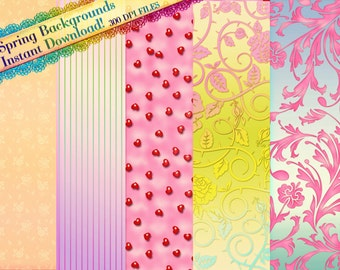 Clipart Digital Paper, Backgrounds, Graphic Backgrounds, Spring Backgrounds