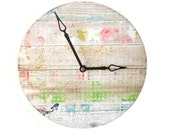 Faux Wood Grain Wall Clock with Pink Rose and Bird Collage -  Unique Wall Decor  - Rustic Wall Clock - Unique Wall Clock - 1620