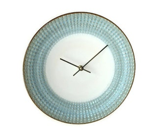SILENT Silvery Blue and Bronze Wall Clock - Modern Wall Clock - Ceramic Plate Wall Clock - Kitchen Clock - Unique Wall Decor - 1982