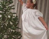 Sweet Dreams (coordinating line), custom smocked bishop flannel nightgown, size newborn-10 girls