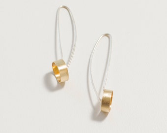 Minimalist dangle earring- tube dangle earring- industrial drop dangle earring- sterling silver- brass- two tone earring