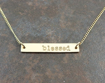 Gold Bar Necklace - Personalized - Hand Stamped - Minimalist Jewelry