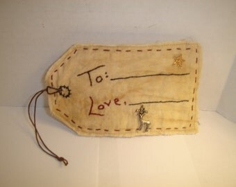 Tag Ornament/Tea Dyed Muslin/Hand Embroidered **