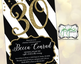 Black & Gold Glitter 30th Birthday Invitation (Digital File)