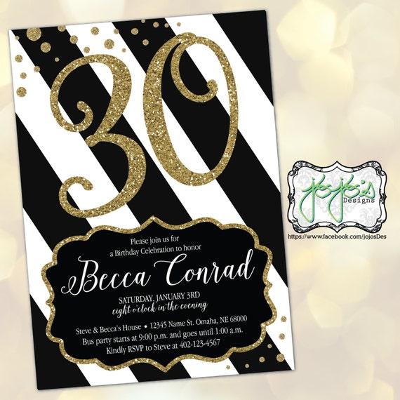 Black gold glitter 30th birthday invitation digital file for Geburtstagskarten ideen