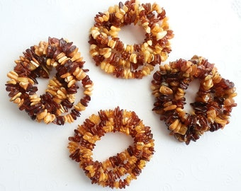Sweet Deal : Set of 4 Genuine Natural Multicolor Baltic Amber Beads LONG Necklace Strands