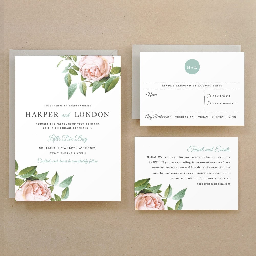 Playful image within printable wedding invitation templates