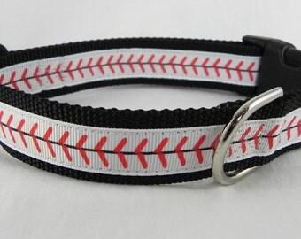 Baseball Stitches Dog Collar