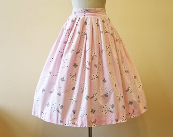 50s Novelty Print Skirt - Vintage 1950s Skirt - Pink Black Gold Butterfly Cotton Full Skirt S M - Flutterbye