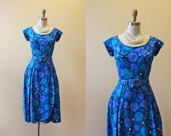 1950s Dress - Vintage 50s 60s Sarong Dress - Blue Atomic Couture Sarong Cocktail Party Dress S M - Laguna