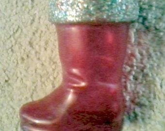 Vintage Red Plastic Santa Boot- Christmas Candy Holder