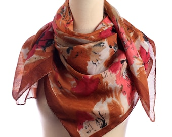 BOHEMIAN Vintage 1980s Scarf . Abstract Flowers Printed 80s Neck Scarf Boho Shawl in Brown Orange Womens Mom Girlfriend Gift