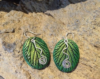 Green leaf earrings, Naturally beautiful and one of a kind pieces of nature hand cast from real leaves.