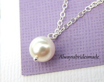 Pearl Necklace, Pearl Solitaire Necklace On A Sterling Silver Chain, Choose your Pearl Color