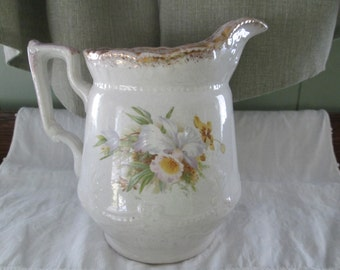 Floral China Pitcher, Victorian decor,Cottage Chic,Country Cottage, Romantic style decor,Flower pattern