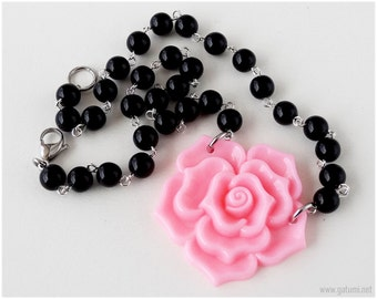 Pink Rose Necklace, Beaded Chain, Black, Flower Jewelry, Sweet Lolita, Gyaru