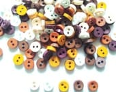100 Pcs Tiny Button, Micro Button 2hole Size 6 Mm Mix Brown Tone