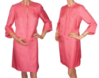 Vintage 1960s Hot Pink Silk Dress