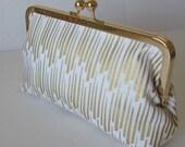 Gold and white Bridesmaid Clutch, Wedding  Accessory, bridal clutch