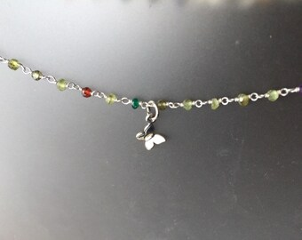 Butterfly and multi gem sterling silver Necklace