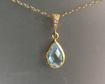 Aquamarine and Gold teardrop Necklace with Pave Bail - March Birthstone -
