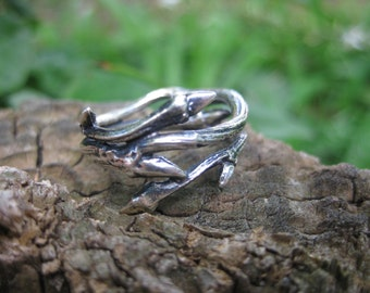 whimsical sterling silver branch twig dark forest ring VINTAGE elven druid