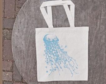 Jellyfish Tote Bag / Summer Beach Bag / Surreal Art Tote / Pastel Boho / Shabby Chic