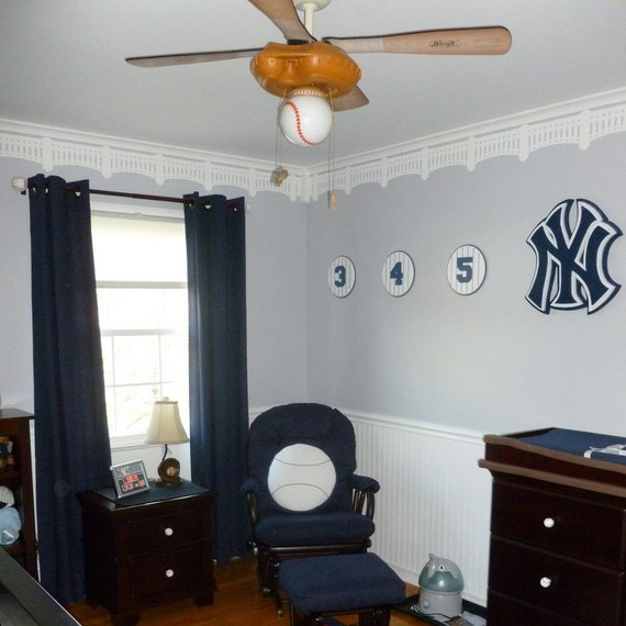 Ny yankee stadium stencil diy baseball wall decor wall for Yankees bathroom decor