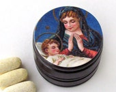 Madonna and Child Pill Box - Rosary Beads Box -  Christian Gift Item - Pxy Box