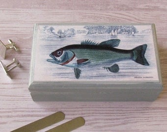 Fish Valet Box -  Grystes Salmoides Keepsake Box - Bass Business Card Holder