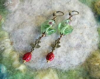 Ladybug Earrings with Green Lamp Work Beads