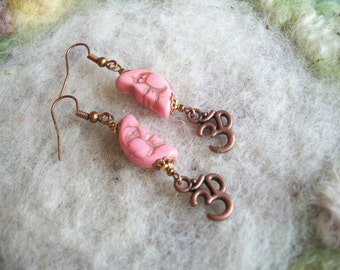 Crescent Moon Earrings, Pink Moon Beaded Earrings, Bronze OM Charm