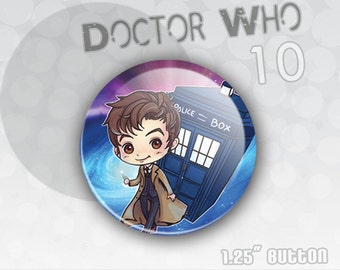 Doctor Who Button the 10th Doctor