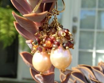 Earrings Sapphires Pearl Earrings Bride Wedding Event Baroque Pearls